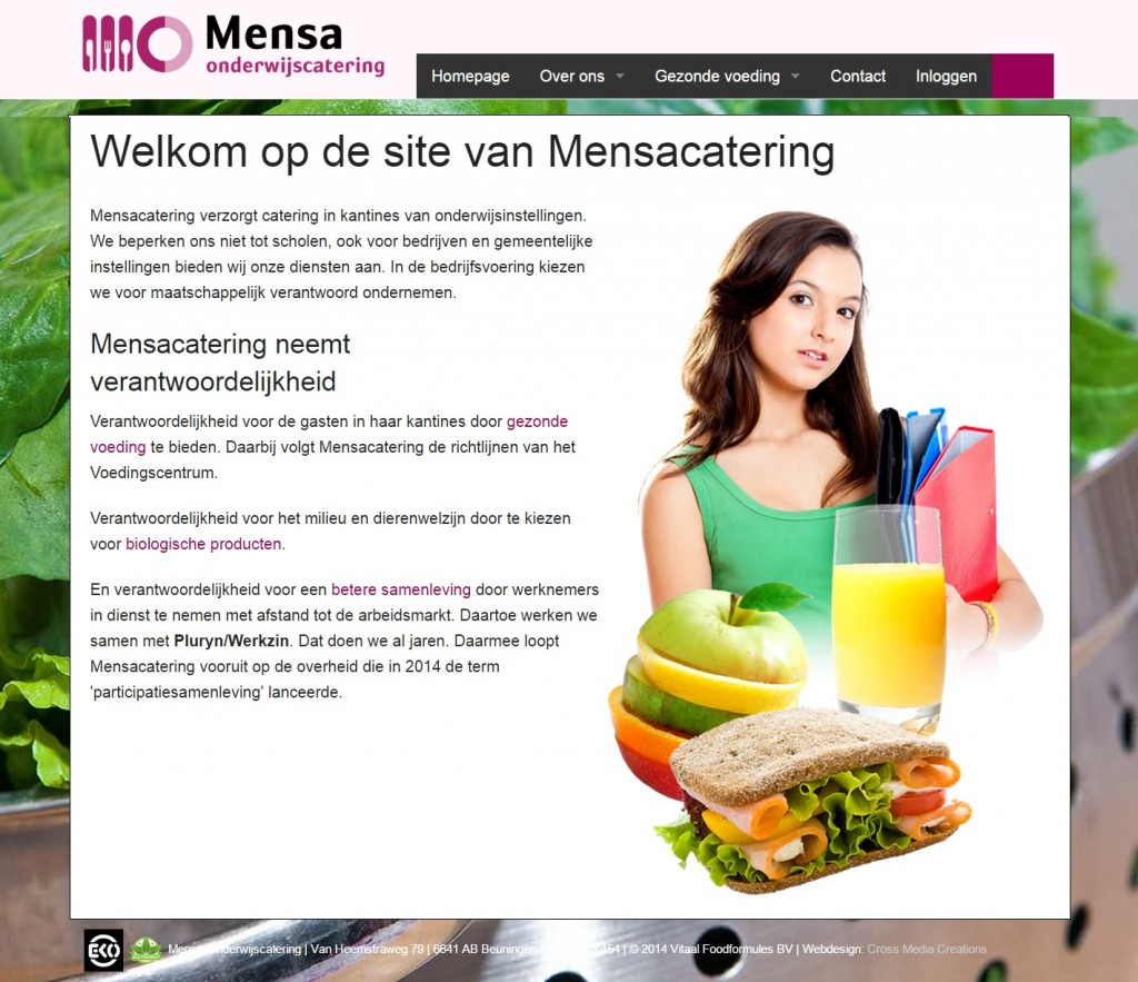 Website Mensacatering schermafbeelding